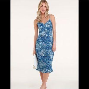 Mai Blue Floral Print Lace-Up Midi Dress